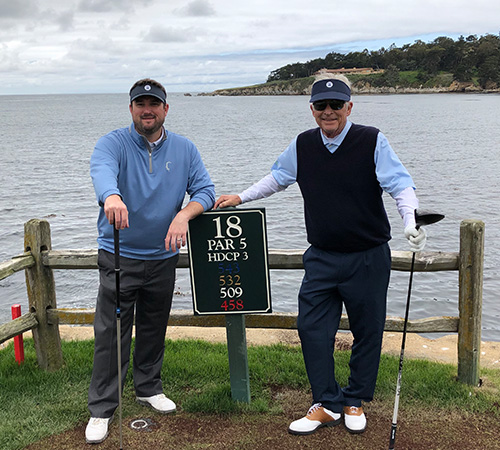 Dr. Palmer and grandfather golfing togehter